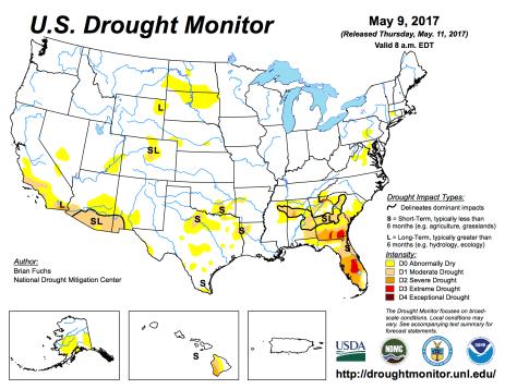 US Drought Monitor May 9, 2017.