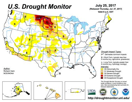 US Drought Monitor July 25, 2017.
