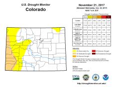 Colorado Drought Monitor November 21, 2017.