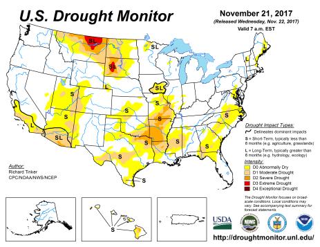 US Drought Monitor November 21, 2017.