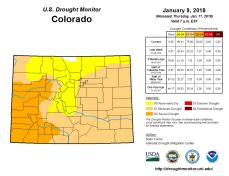Colorado Drought Monitor January 9, 2018.