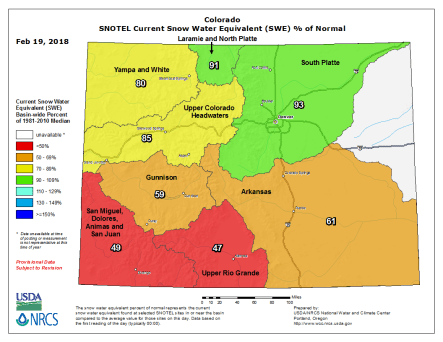 Statewide snowpack basin-filled map February 19, 2018 via the NRCS.