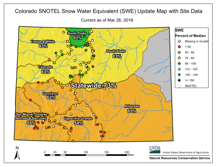 Statewide snowpack basin-filled map March 26, 2018 via the NRCS.