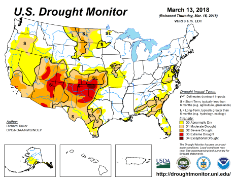 US Drought Monitor March 13, 2018.