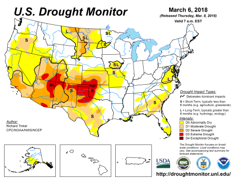 US Drought Monitor March 6, 2018.