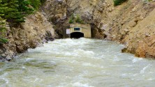 Water from the Roaring Fork River basin heading east out of the end of the Twin Lakes Tunnel (June 2016), which is operated by the Twin Lakes Reservoir and Canal Co., a member of the Front Range Water Council. The FRWC recently declined to meet with members of a Colorado Basin Roundtable group about demand management. Photo: Brent Gardner-Smith/Aspen Journalism