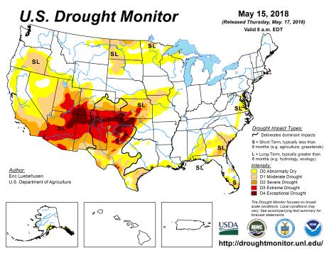 US Drought Monitor May 15, 2018.