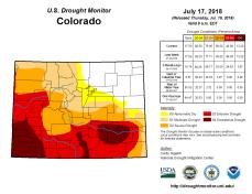 Colorado Drought Monitor July 17, 2018.