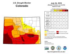 Colorado Drought Monitor July 24, 2018.
