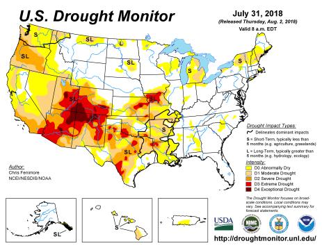 US Drought Monitor July 31. 2018