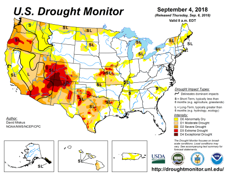 US Drought Monitor September 4, 2018.