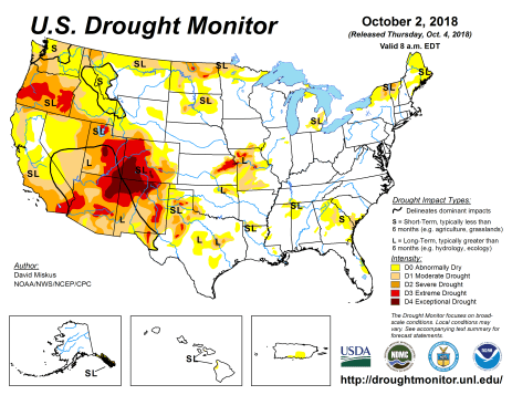 US Drought Monitor October 2, 2018.