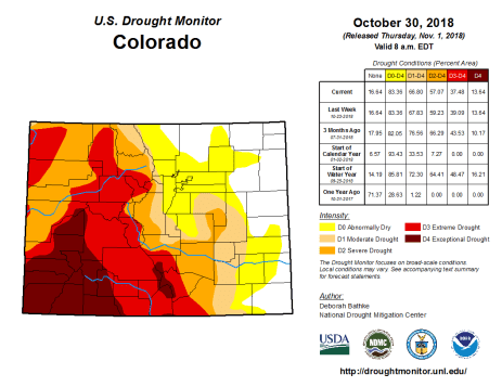 Colorado Drought Monitor October 30, 3018.