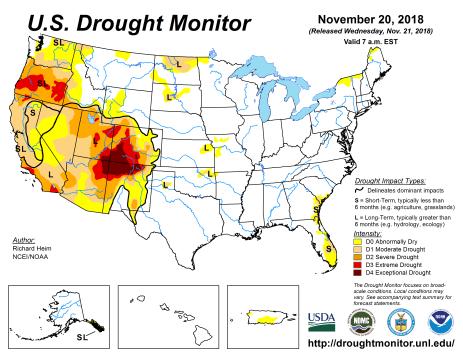 US Drought Monitor November 20, 2018.