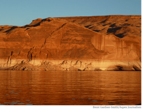 The bathtub ring in Lake Powell in October 2014, which illustrates how reservoir levels have dropped since 2000. A state official says she sees no reason Colorado shouldn't move forward with an investigation of a program that would send water to Lake Powell. Photo credit: Brent Gardner-Smith/Aspen Journalism