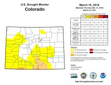 Colorado Drought Monitor March 19, 2019.