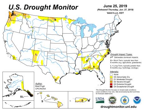 US Drought Monitor June 25, 2019.