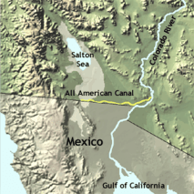 The All American Canal diverts water from the Lower Colorado River to irrigate crops in California's Imperial Valley and supply 9 cities. Graphic credit: USGS