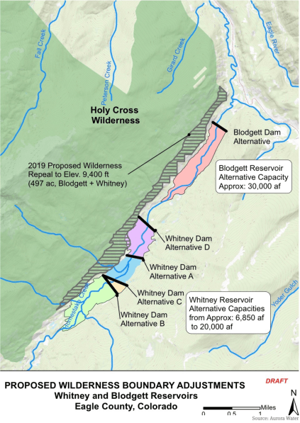 A map prepared by Aurora Water that shows a potential 500-acre adjustment to the Holy Cross Wilderness boundary near the potential Whitney Reservoir on lower Homestake Creek. The map as current as of July 16, 2019.
