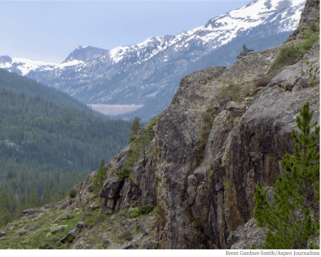 A view, from the Alternative A dam site, of the Homestake Creek valley. The triangle shape in the distance is the dam that forms Homestake Reservoir. Photo credit: Brent Gardner-Smith/Aspen Journalism