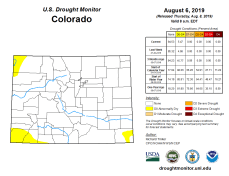 Colorado Drought Monitor August 8, 2019.