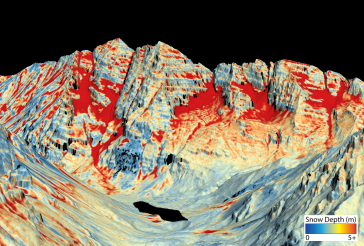 This map shows the snowpack depth of the Maroon Bells in spring 2019. The map was created with information from NASA's Airborne Snow Observatory, which will help water managers make more accurate streamflow predictions. Jeffrey Deems/ASO, National Snow and Ice Data Center