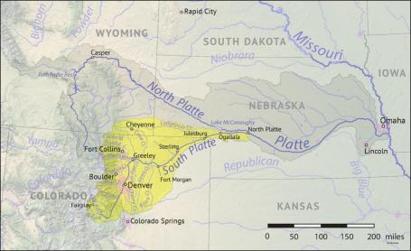 The South Platte River Basin is shaded in yellow. Source: Tom Cech, One World One Water Center, Metropolitan State University of Denver.