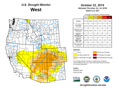 West Drought Monitor October 22, 2019.