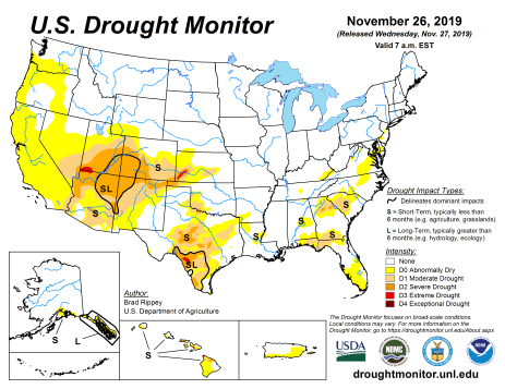 US Drought Monitor November 26, 2019.