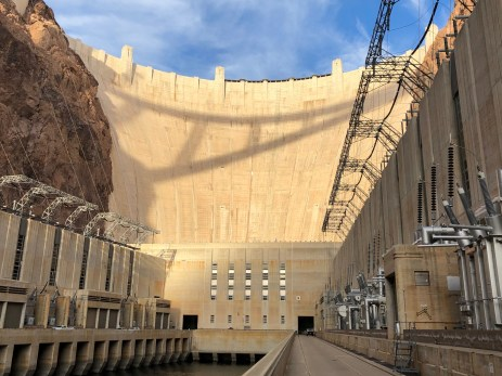 "Hoover Dam from the Arizona Powerhouse deck December 13, 2019. As John Fleck said in a Tweet, ""Friends who have the keys showed us around this afternoon."" Thanks USBR."