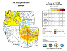 West Drought Monitor January 7, 2020.