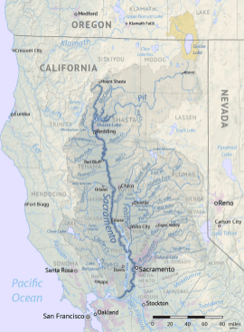 Map of the Sacramento River drainage basin. The historically connected Goose Lake drainage basin is shown in orange. Made using USGS National Map and NASA SRTM data. By Shannon1 - Own work, CC BY-SA 4.0, https://commons.wikimedia.org/w/index.php?curid=79326436