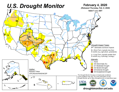 US Drought Monitor February 4, 2020.