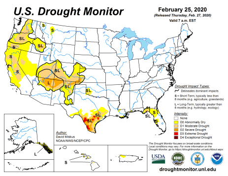 US Drought Monitor February 25, 2020.