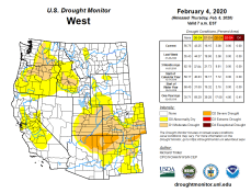 West Drought Monitor February 4, 2020.