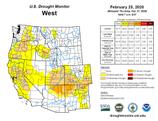 West Drought Monitor February 25, 2020.
