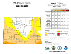 Colorado Drought Monitor March 17, 2020.