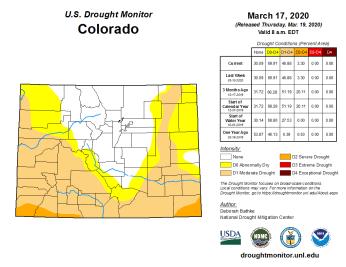 Colorado Drought Monitor March 17, 2020.