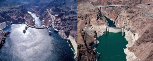 Lake Mead in 2001 vs. 2015 via the Department of Interior.