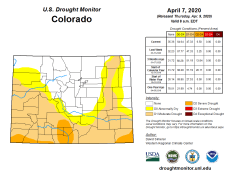Colorado Drought Monitor April 7, 2020.