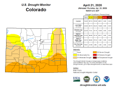 Colorado Drought Monitor April 21. 2020.