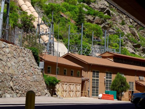The Shoshone hydro plant in Glenwood Canyon, captured here in June 2018, uses water diverted from the Colorado River to make power, and it controls a key water right on the Western Slope. Photo credit: Brent Gardner-Smith/Aspen Journalism