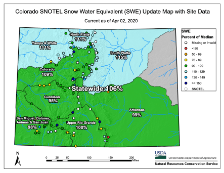 Statewide basin-filled snowpack map April 2, 2020 via the NRCS,