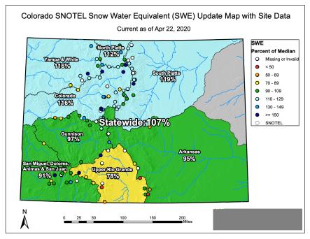 Snowpack Colorado April 22, 2020 via the NRCS.