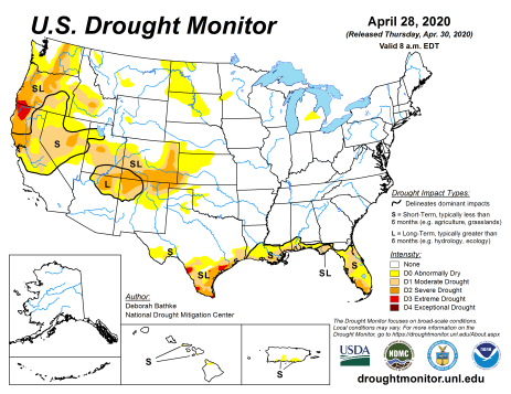 US Drought Monitor April 28, 2020.