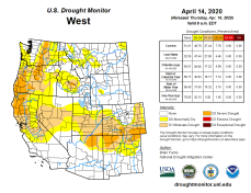 West Drought Monitor April 14, 2020.