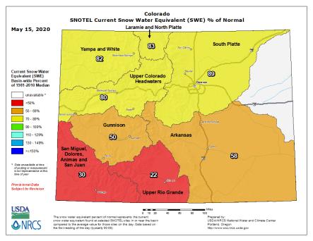 Colorado Snowpack basin-filled map May 15, 2020 via the NRCS.