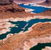 Lake Powell, behind Glen Canyon Dam, shows the effects of persistent drought in the Colorado River Basin. (Source: U.S. Bureau of Reclamation)