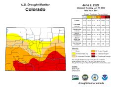 Colorado Drought Monitor June 9, 2020.