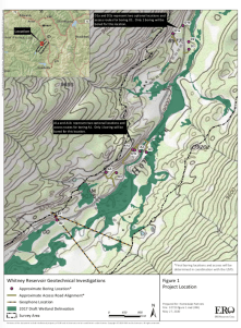 This map shows the location of test holes Homestake Partners plans to drill as part of its geotechnical investigation into the feasibility of a dam site in the Homestake Creek valley. The Forest Service has received more than 500 comments, most of them in opposition to, the drilling and the overall reservoir project. Credit: USFS via Aspen Journalism